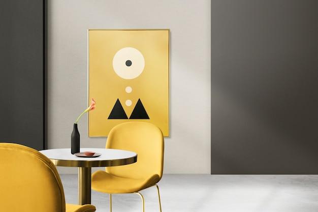 Nowoczesny luksusowy autentyczny wystrój wnętrz jadalni z ramką na zdjęcia