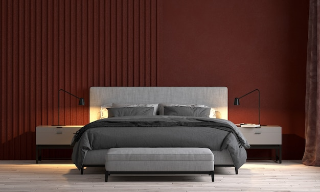 Nowoczesny luksusowy dom i projektowanie wnętrz sypialni i czerwonej ściany tekstury tła