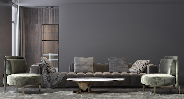 Nowoczesny, luksusowy dom i wystrój wnętrz salonu i czarnej ściany tekstura tło