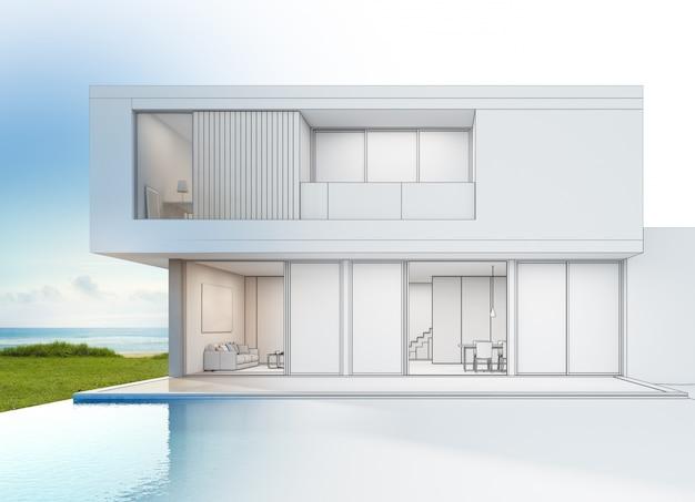 Nowoczesny luksusowy dom na plaży z basenem z widokiem na morze.