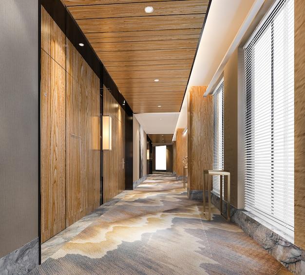 Nowoczesny luksusowy korytarz hotelowy z drewna i płytek