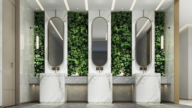 Nowoczesny, luksusowy projekt wnętrza pięknej toalety i łazienki oraz zielonej ściany