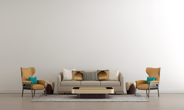 Nowoczesny luksusowy salon i makiety dekoracji mebli i białe tło ścienne