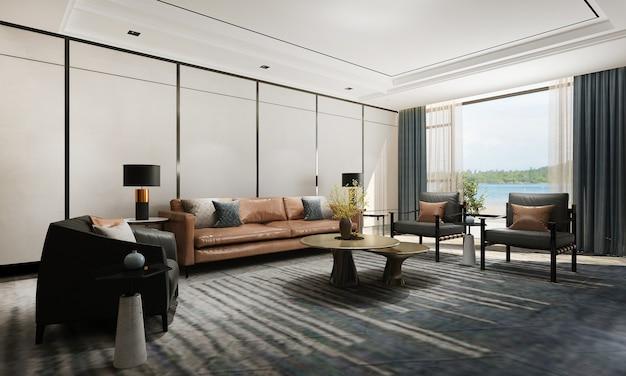 Nowoczesny luksusowy salon i pusta ściana tekstury tła wnętrza renderowania 3d