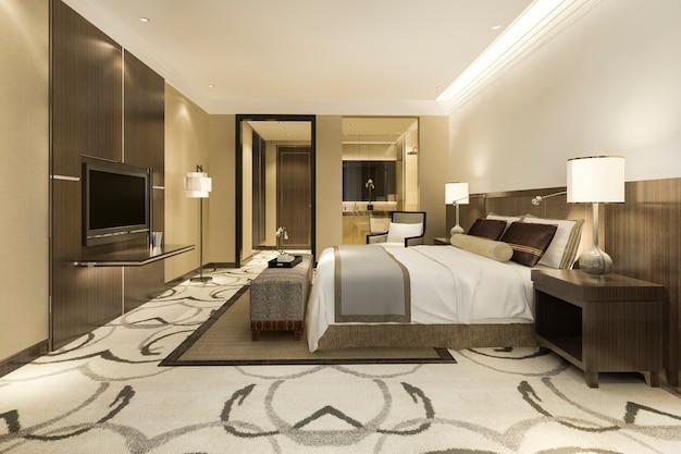 Nowoczesny luksusowy zestaw sypialni i łazienki
