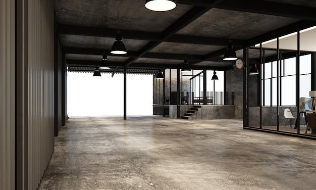 Nowoczesny magazyn przemysłowy z miejscem do pracy i fabryką salonu z wykończeniem wnętrz z betonu i metalu renderowania 3d