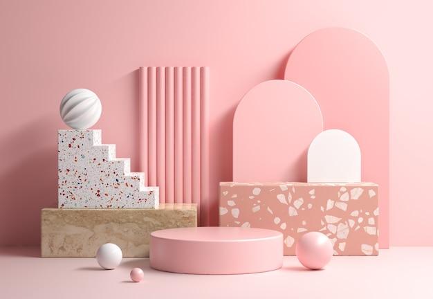 Nowoczesny makieta miękki różowy wyświetlacz z kompozycją abstrakcyjnej geometrii