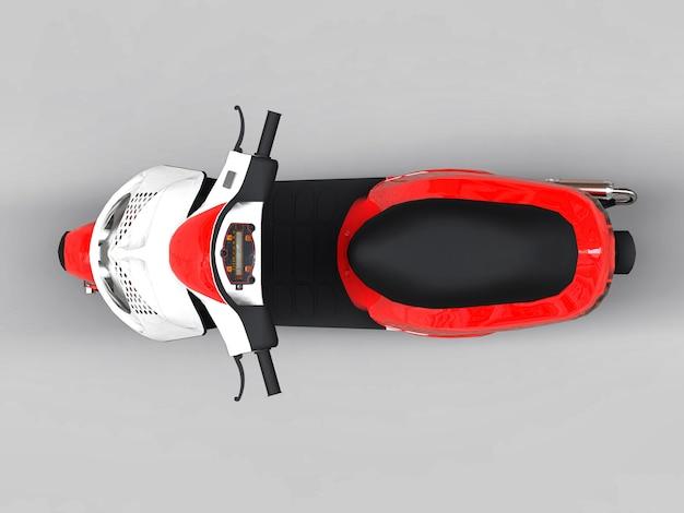 Nowoczesny miejski czerwony i biały motorower na jasnoszarym tle. 3d ilustracji.