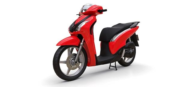 Nowoczesny miejski czerwony motorower na białej powierzchni