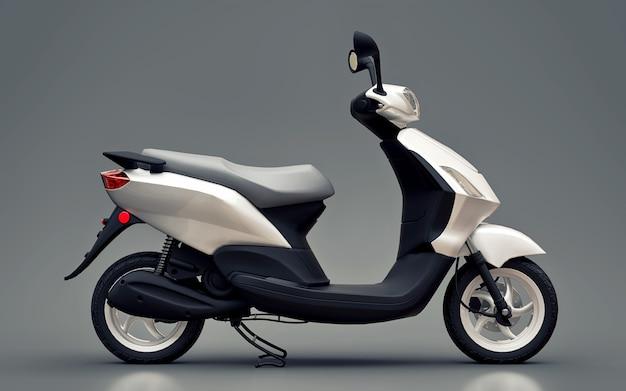 Nowoczesny miejski motorower w kolorze białym na szarej powierzchni
