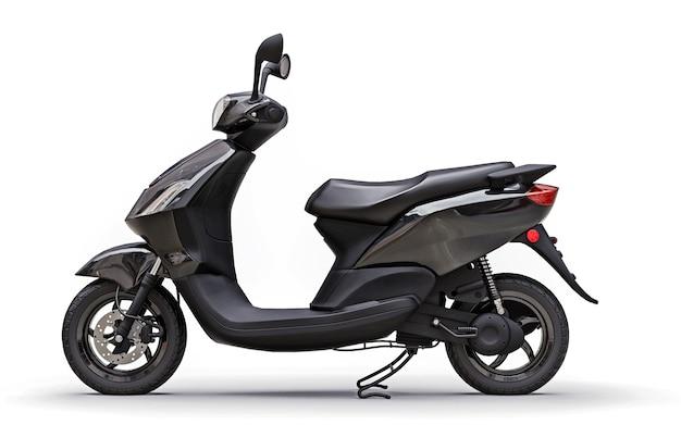 Nowoczesny miejski motorower w kolorze czarnym na białej powierzchni