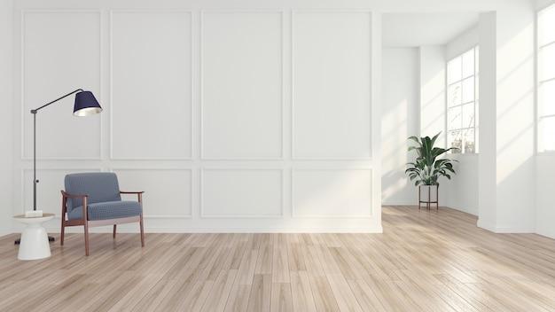 Nowoczesny, minimalistyczny pokój z fotelem i lampą podłogową