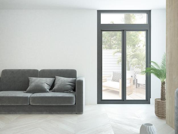 Nowoczesny minimalistyczny salon w mieszkaniu