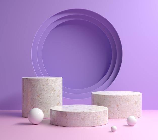 Nowoczesny minimalny zestaw podium makiety z pastelowym fioletem