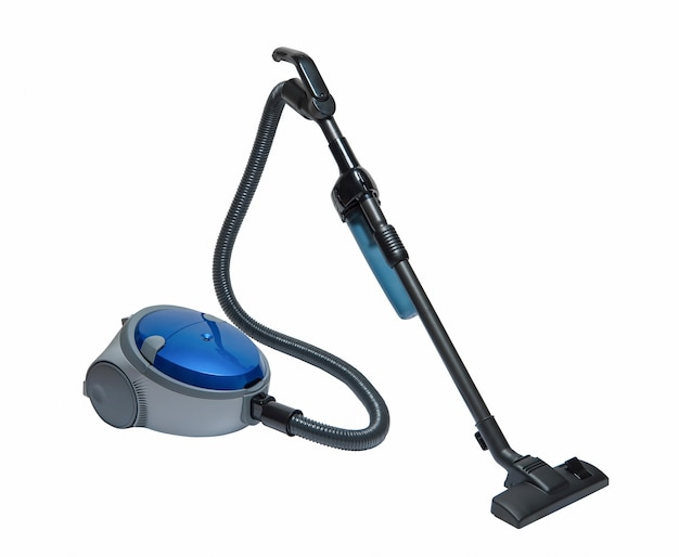 Nowoczesny odkurzacz domowy niebieski na białym tle