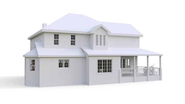 Nowoczesny piękny dom. klasyczny amerykański domek dla dużej rodziny. ilustracja 3d.