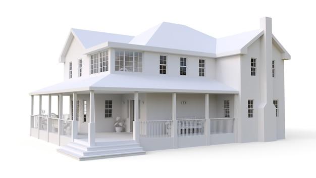 Nowoczesny piękny dom. klasyczny amerykański domek dla dużej rodziny. ilustracja 3d