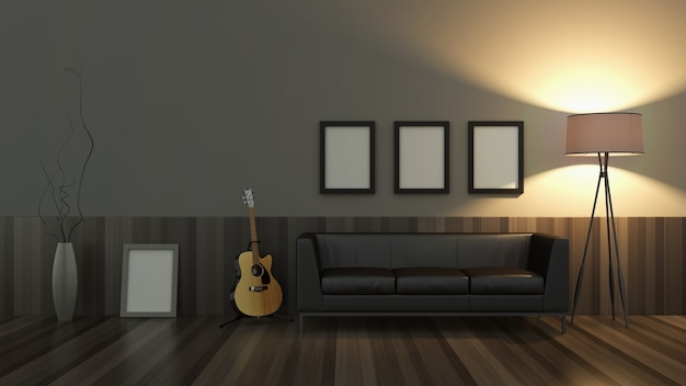 Nowoczesny pokój 3d z ładnymi meblami w środku