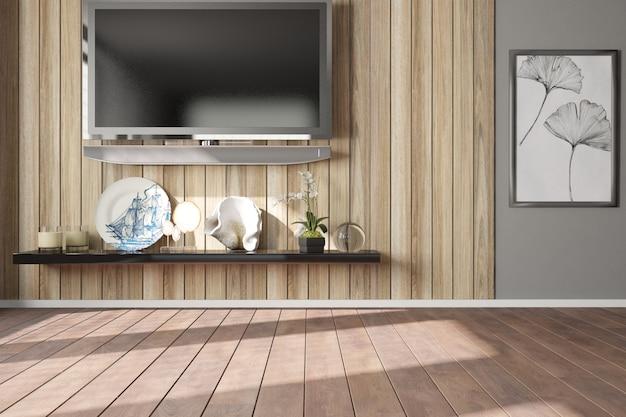 Nowoczesny pokój z drewnianą ścianą. projektowanie wnętrz.