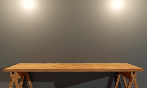 Nowoczesny pokój z drewnianym biurkiem. renderowanie 3d