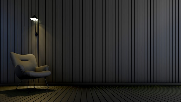 Nowoczesny pokój z fotelem i lampą w pustym pokoju. projekty domów w tle wnętrz, renderowania 3d