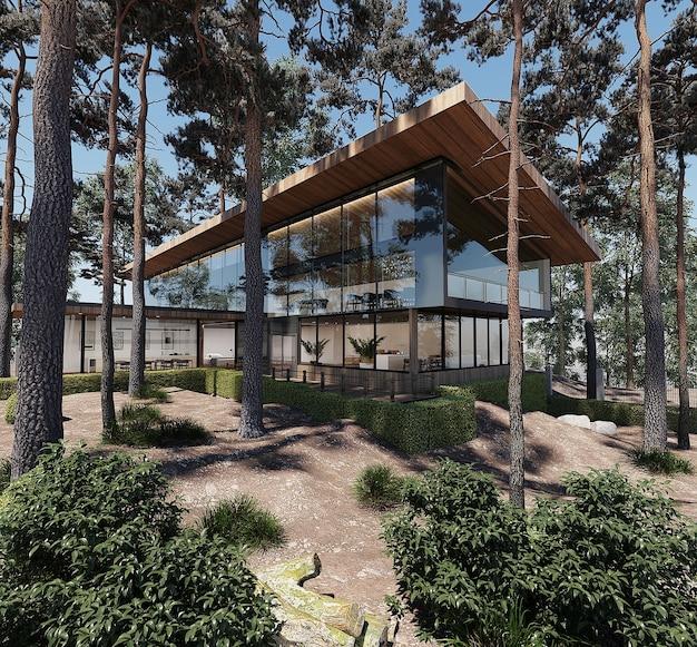 Nowoczesny projekt domu w lesie darmowe