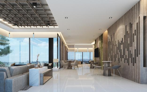 Nowoczesny projekt holu głównego poczekalni na poddaszu z drewnianą teksturą w renderowaniu 3d mieszkania lub kondominium