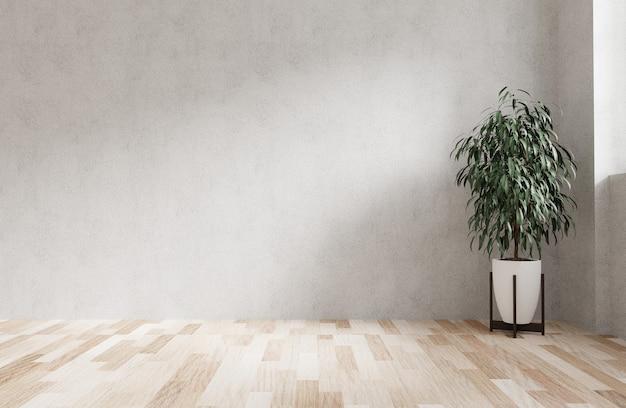 Nowoczesny projekt wnętrza z betonową ścianą, podłogą z jasnego drewna i rośliną w narożniku