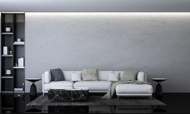 Nowoczesny przytulny salon i betonowa ściana tekstura tło wystrój wnętrz renderowanie 3d