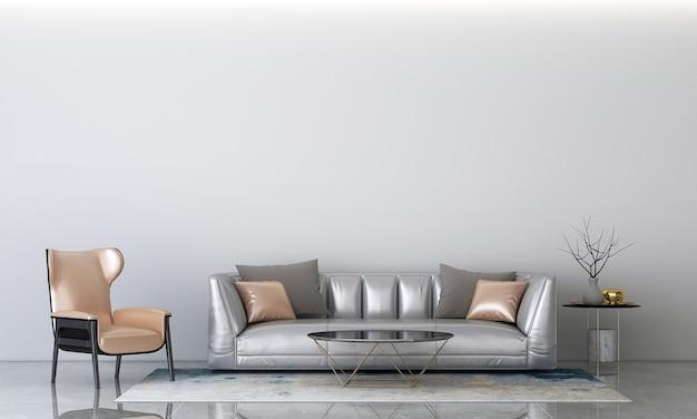 Nowoczesny przytulny salon i biała ściana tekstury tła wnętrza renderowania 3d