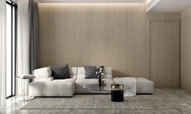 Nowoczesny, przytulny salon i drewniana ściana tekstury tła wnętrza