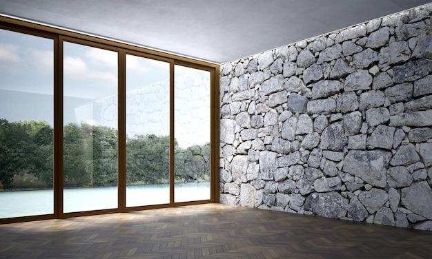 Nowoczesny, przytulny salon i kamienna ściana z teksturą tła wnętrza
