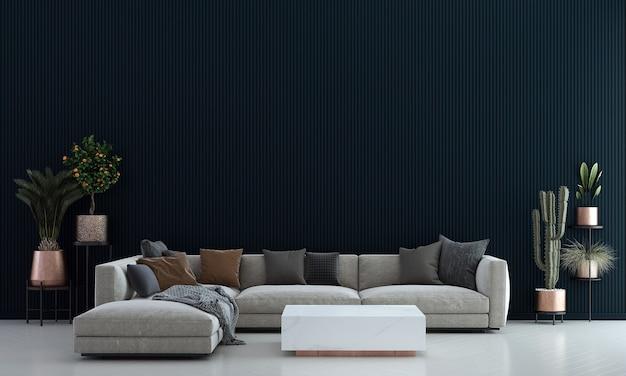 Nowoczesny, przytulny salon i niebieski wzór tekstury ścian w tle wnętrza