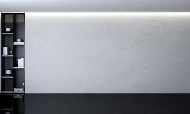 Nowoczesny przytulny salon i pusta betonowa ściana tekstura tło wystrój wnętrz renderowanie 3d