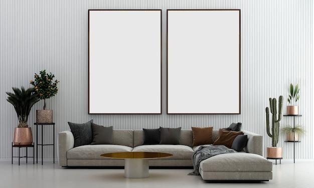 Nowoczesny, przytulny salon i pusta płócienna rama na białej ścianie tekstury tła wnętrza projektu