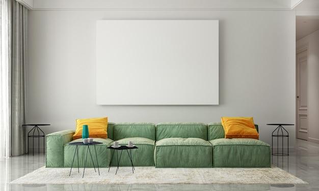 Nowoczesny, przytulny salon i pusta płócienna rama na tle wystroju wnętrza tekstury ściany