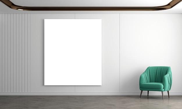 Nowoczesny, przytulny salon i puste płótno na białej ścianie tekstury tła wnętrza projektu
