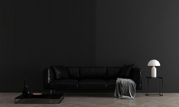 Nowoczesny, przytulny salon ścienny w kolorze czarnym ma sofę i dekoracje, makiety wnętrza, renderowanie 3d