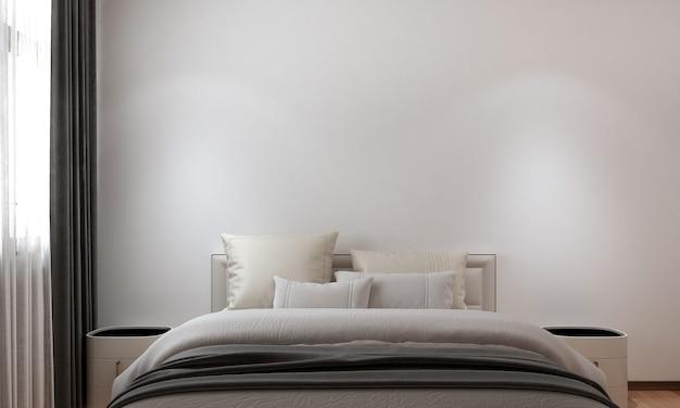 Nowoczesny, przytulny wystrój domu i dekoracji oraz wystrój sypialni i puste tło ścienne