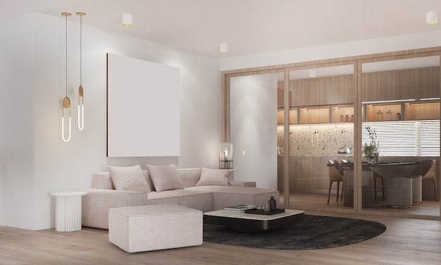 Nowoczesny przytulny wystrój salonu i jadalni oraz białej ściany