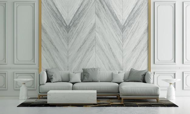 Nowoczesny, przytulny wystrój wnętrz salonu i białe tło ściany z marmuru