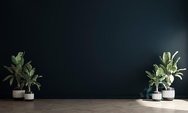 Nowoczesny, przytulny wystrój wnętrz z pustym salonem i niebieskim tle ściany, renderowania 3d