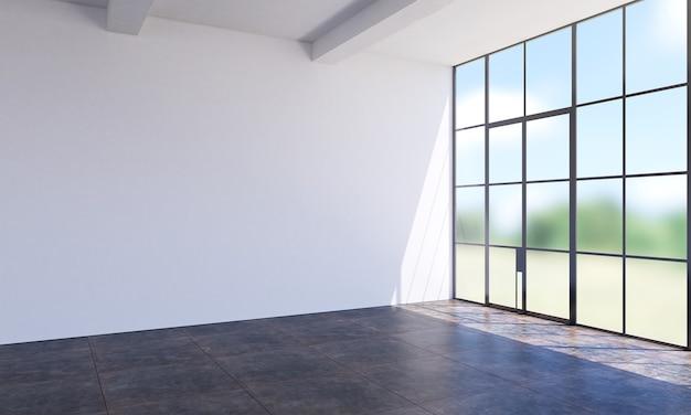 Nowoczesny pusty biały salon i ściana tekstury tła wnętrza projektu