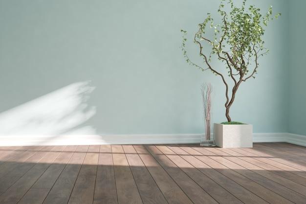 Nowoczesny, pusty pokój z wystrojem wnętrz roślin.