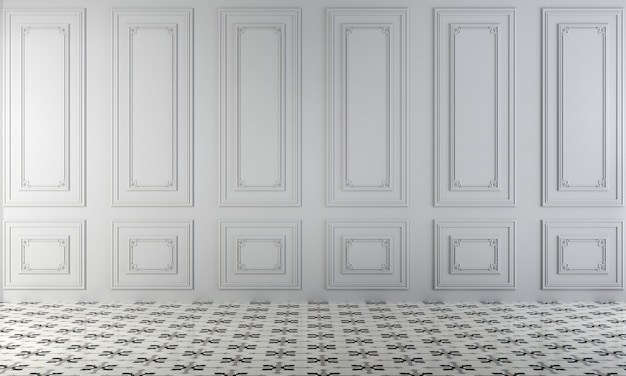 Nowoczesny pusty salon i biała ściana tekstury tła wnętrza renderowania 3d