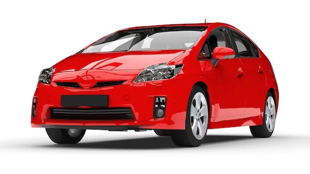 Nowoczesny rodzinny samochód hybrydowy czerwony na białej powierzchni z cieniem na ziemi