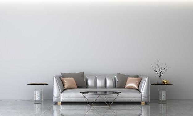 Nowoczesny salon i betonowa ściana tekstura tło projektowanie wnętrz renderowanie 3d