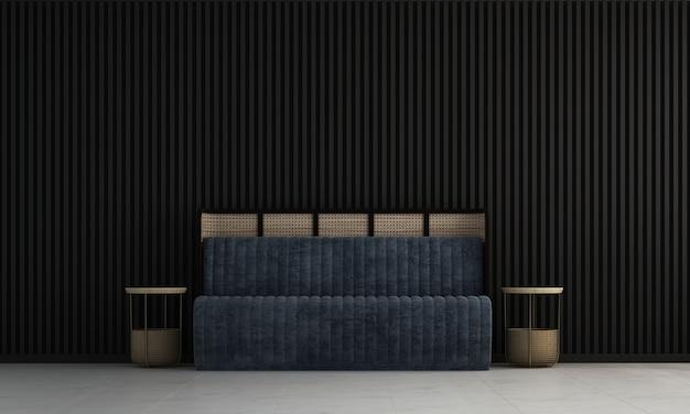 Nowoczesny salon i czarna pusta ściana tekstura tło wnętrza