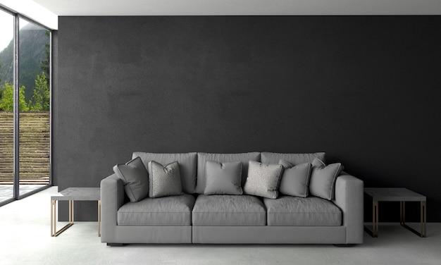 Nowoczesny salon i czarna ściana tekstury tła wnętrza projektu