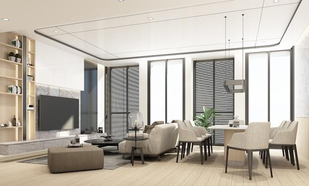 Nowoczesny salon i jadalnia z drewnianą teksturą i wystrojem wnętrz w kolorze białym, renderowanie 3d